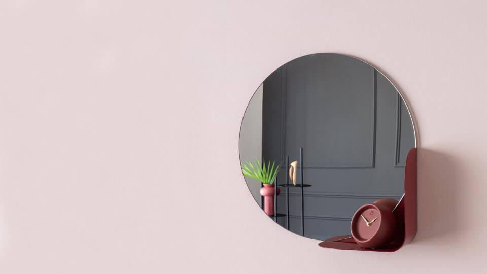 Зеркало Calligaris Virgola круглой формы с декоративной полкой разных цветов итальянская мебель в Одессе