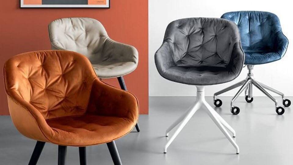 Стул обеденный/home office Calligaris Igloo в мягкой обивке итальянская мебель в Одессе