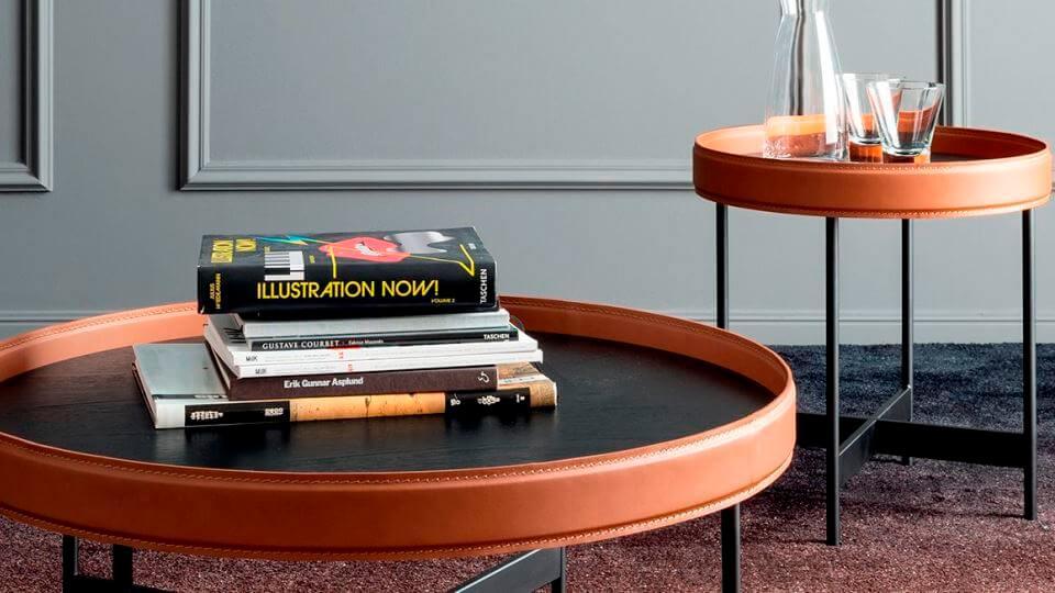 Журнальный стол Calligaris Arena с шпонированной столешницей в обрамлении из регенерированной кожи на металлических ножках итальянская мебель в Одессе