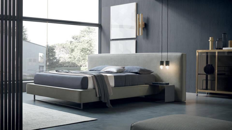 Кровать Felis Bowie с мягким изголовьем и основанием из ткани с коробом для хранения вещей итальянская мебель в Одессе