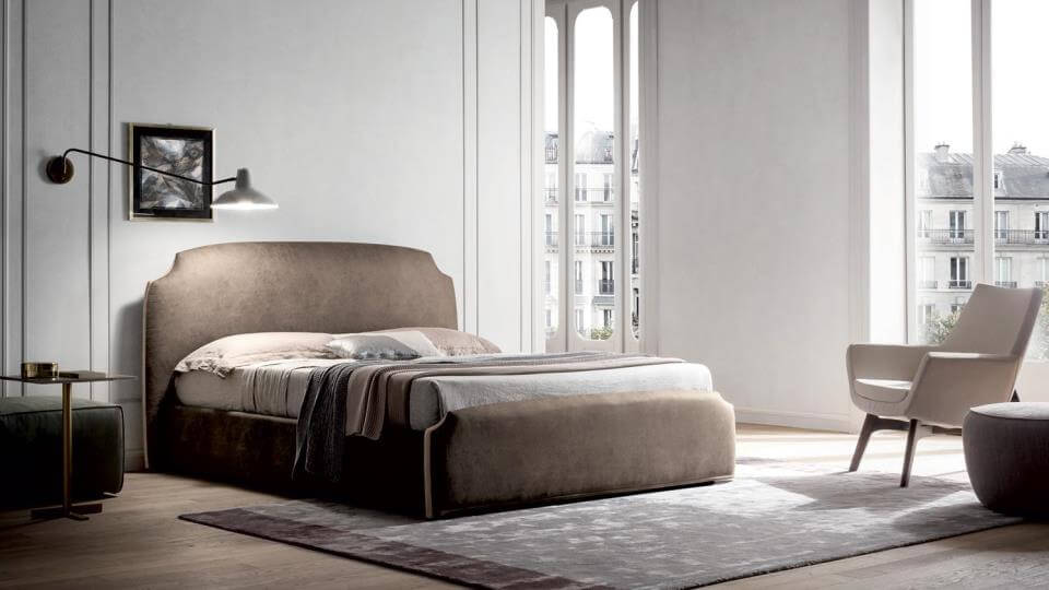 Кровать Felis Demy в мягкой обивке из ткани с коробом для хранения вещей итальянская мебель в Одессе
