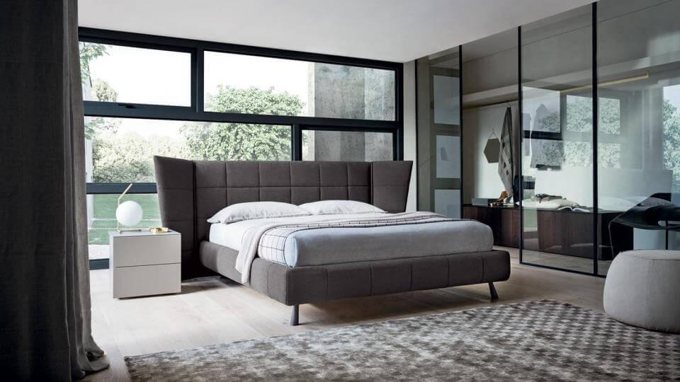 Кровать Felis Gaber в мягкой обивке из ткани с коробом для хранения вещей итальянская мебель в Одессе