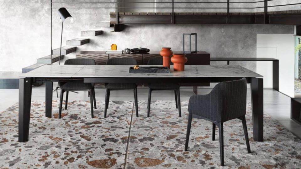 Стол обеденный Calligaris Alpha прямоугольный раскладной/не раскладной с керамической столешницей на деревянных ножках итальянская мебель в Одессе