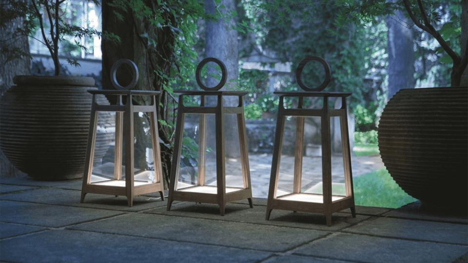 Лампа напольная/настольная Porada Amarcord из массива ореха и прозрачного стекла итальянская мебель в Одессе