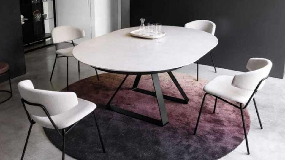 Стол обеденный Calligaris Atlante круглый раскладной с керамической столешницей на металлических ножках итальянская мебель в Одессе