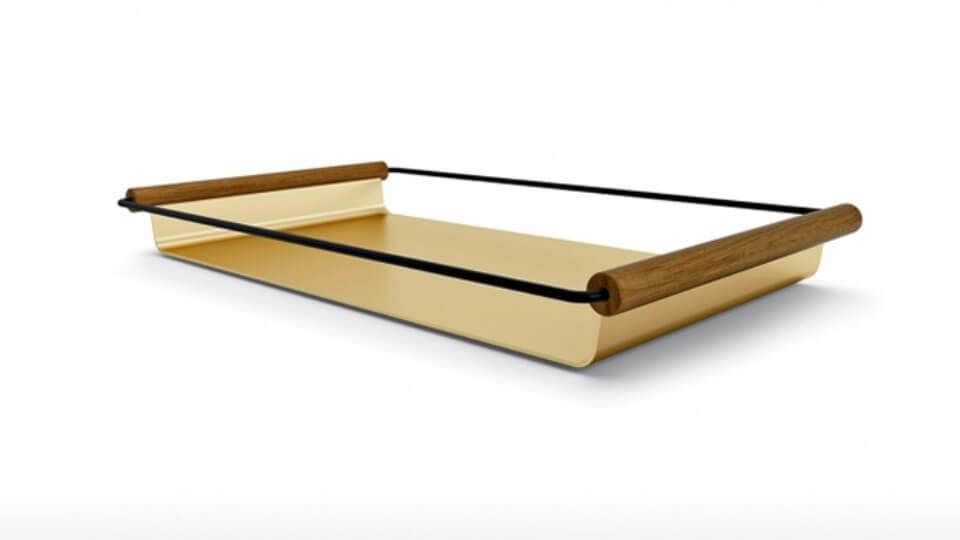 Поднос Calligaris Apollo прямоугольный металлический с деревянными ручками итальянская мебель в Одессе