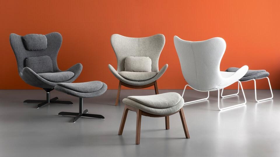 Кресло Calligaris Lazy поворотное в мягкой обивке итальянская мебель в Одессе