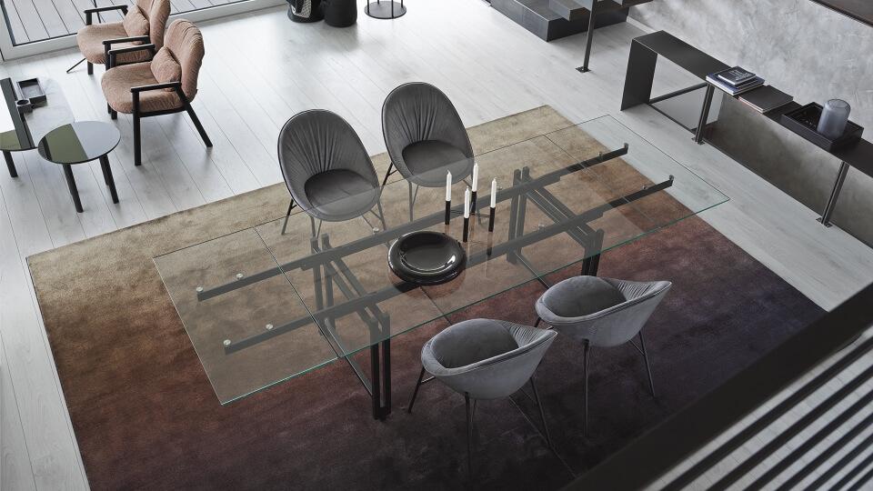 Стол обеденный Calligaris Berlin прямоугольный раскладной со стеклянной столешницей на металлических ножках итальянская мебель в Одессе