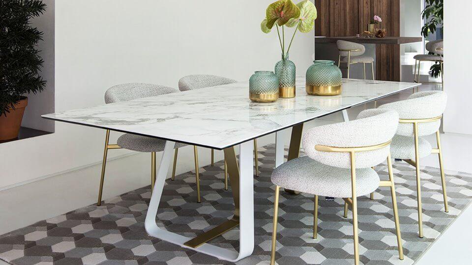 Стол Calligaris Sunshine обеденный раскладной/не раскладной с керамической/стеклянной/ шпонированной столешницей на металлических ножках разных цветов итальянская мебель в Одессе