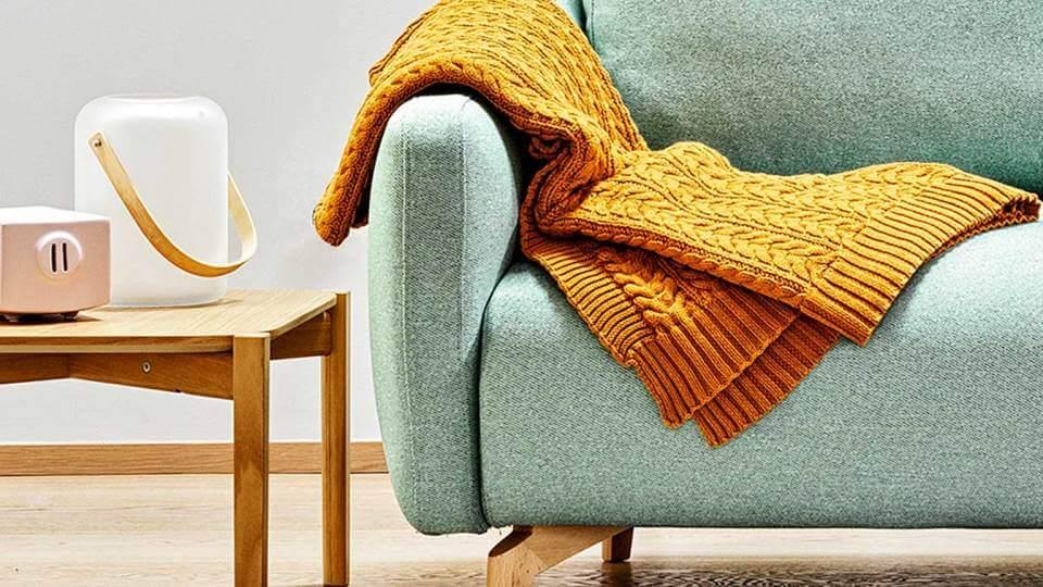 Плед Calligaris Baker из 100% хлопка синего и желтого цветов 130см х 170 см итальянская мебель в Одессе
