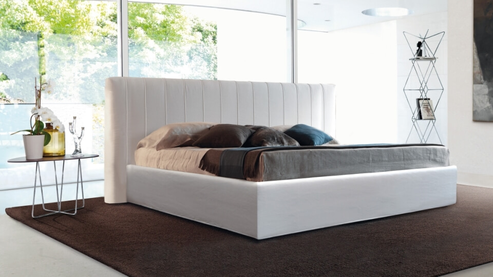 Кровать Desiree Alun в мягкой обивке разных цветов и фактур с коробом для хранения итальянская мебель в Одессе