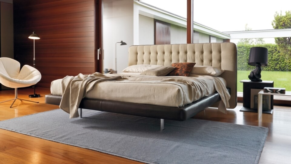 Кровать Desiree Dedalo в мягкой обивке со стеганным изголовьем и с коробом для хранения итальянская мебель в Одессе