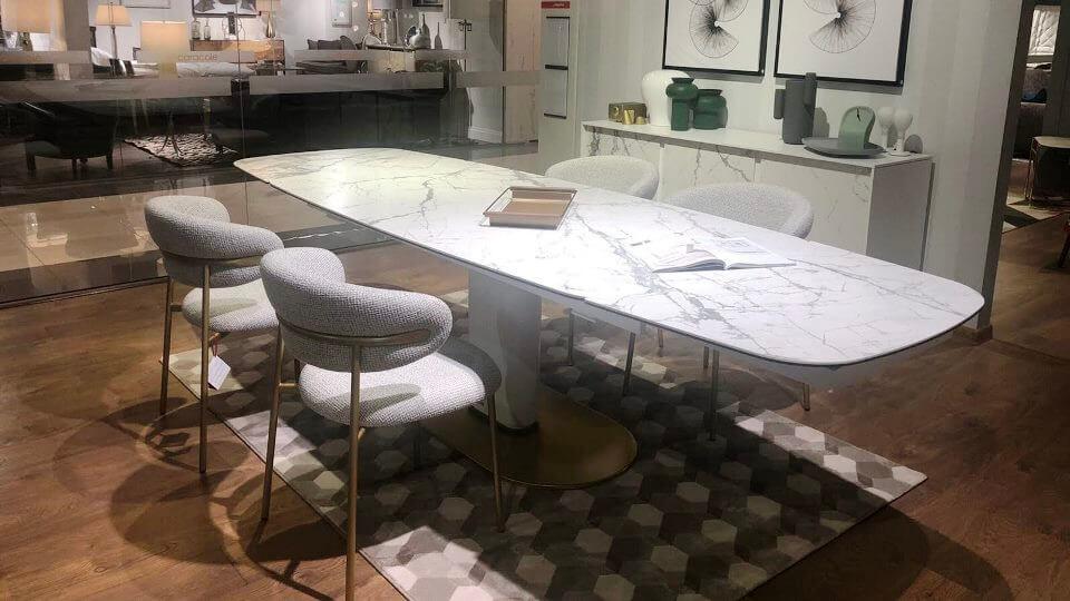Стол обеденный Calligaris Cameo овальный раскладной/нераскладной с керамической столешницей на металлической ноге итальянская мебель в Одессе