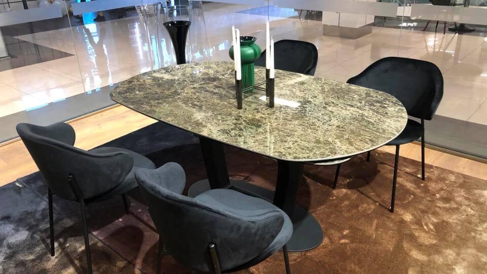Стол обеденный Calligaris Orbital овальный раскладной с керамической столешницей на металлической ножке итальянская мебель в Одессе
