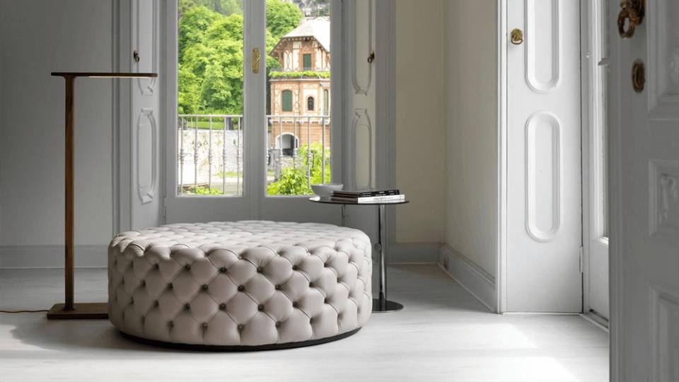 Пуф Porada Alcide с декоративной простежкой из ткани или кожи итальянская мебель в Одессе