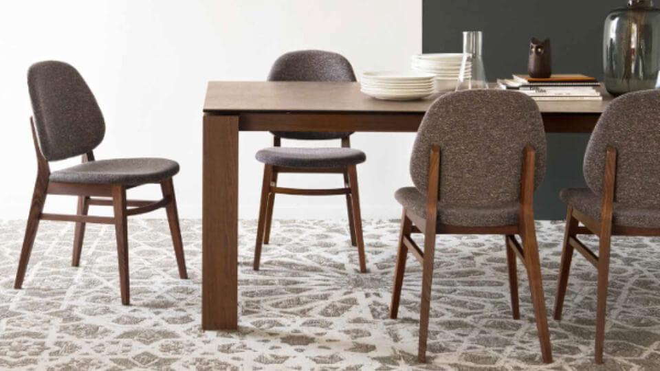 Стул обеденный Calligaris Collette сиденье обито твидовой тканью на деревянных ножках итальянская мебель в Одессе