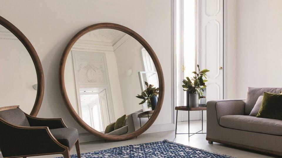 Круглое настенное зеркало Porada Giove с рамой из массива ореха итальянская мебель в Одессе