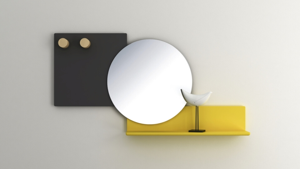 Круглое зеркало Bonaldo Piers с полкой в матовой лакировке итальянская мебель в Одессе