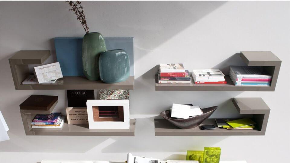 Полка Calligaris Seattle в отделке из натурального шпона и в покраске серого цвета итальянская мебель в Одессе