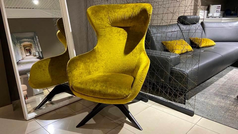 Кресло Iseo с от итальянской фабрики Nicoline в обивке из ткани на деревянном поворотной основании итальянская мебель в Одессе