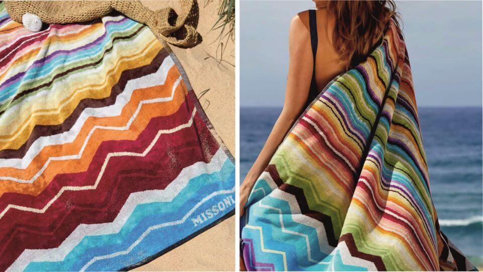 Полотенце пляжное Hugo от итальянской фабрики Missoni Home из 100% хлопка. Габариты ш 100 см x д 180 см итальянская мебель в Одессе