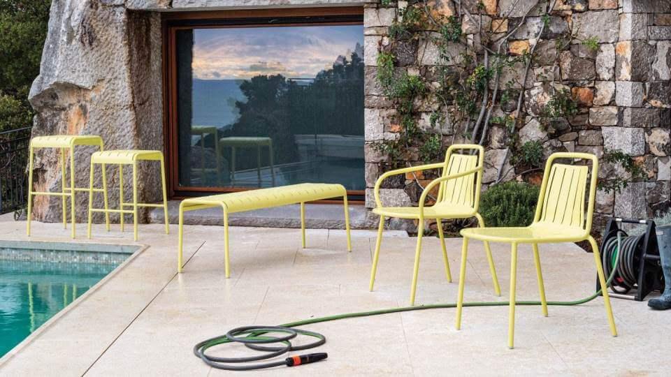 Добавьте ярких красок в зону домашнего бара с помощью табурета Easy из металлических трубок с сиденьем из профилированного листового металла итальянская мебель в Одессе